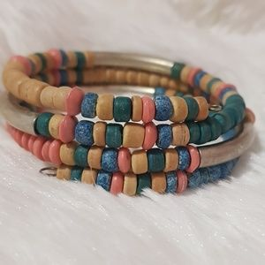 Wood Metal Multicolored  Cuff Bangle Bead Bracelet